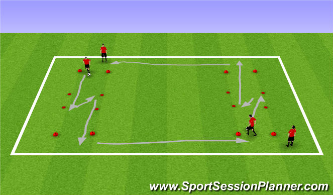Football/Soccer Session Plan Drill (Colour): Spring/Summer Dribble and change direction