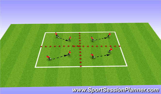 Football/Soccer Session Plan Drill (Colour): Pairs in squares