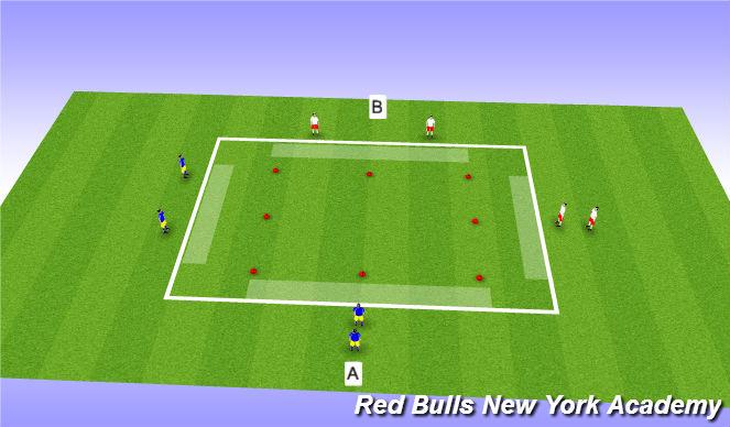 Football/Soccer Session Plan Drill (Colour): 2 v 1 Handball