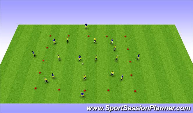 Football/Soccer Session Plan Drill (Colour): 8v8 Posession