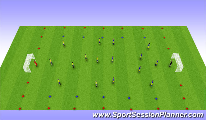 Football/Soccer Session Plan Drill (Colour): 9v9 Wide Play