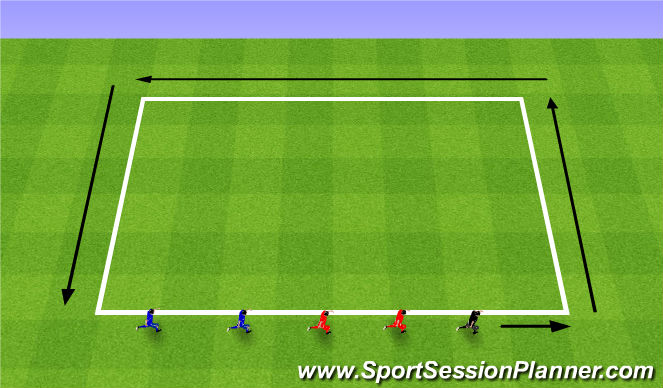 Football/Soccer Session Plan Drill (Colour): Warm-Up: Run Around the Castle