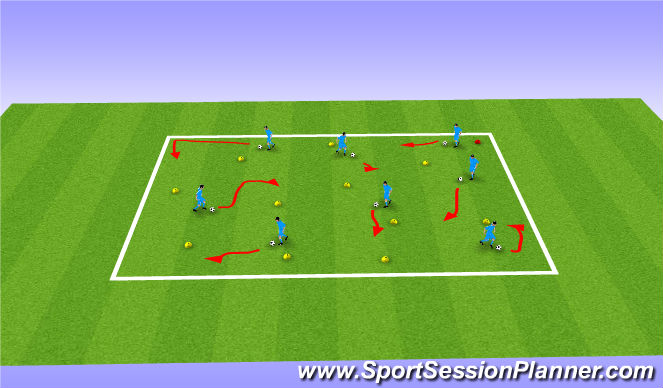 Football/Soccer Session Plan Drill (Colour): Warm Up / Intro