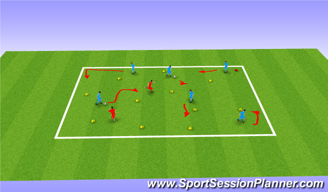 Football/Soccer Session Plan Drill (Colour): Opposed Technical Focus Turning