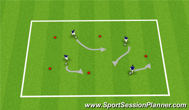 Football/Soccer Session Plan Drill (Colour): Cones