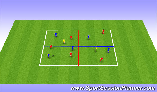 Football/Soccer Session Plan Drill (Colour): SSG 5 V 5 +2 with conditions
