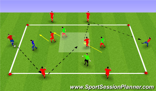 Football/Soccer Session Plan Drill (Colour): 4v4+4 Rondo