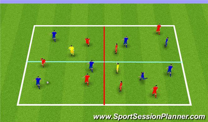Football/Soccer Session Plan Drill (Colour): SSG 6 V 6 +2