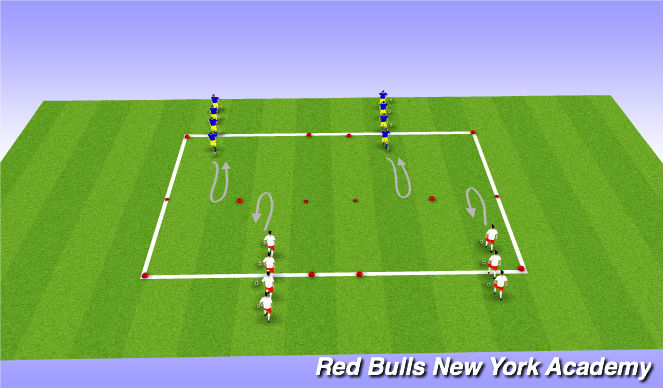 Football/Soccer Session Plan Drill (Colour): WARM UP : TURNING REPETITION