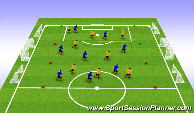 Football/Soccer Session Plan Drill (Colour): Awareness - Flag soccer with 2 end zones