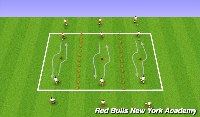 Football/Soccer Session Plan Drill (Colour): Rows Of Moves