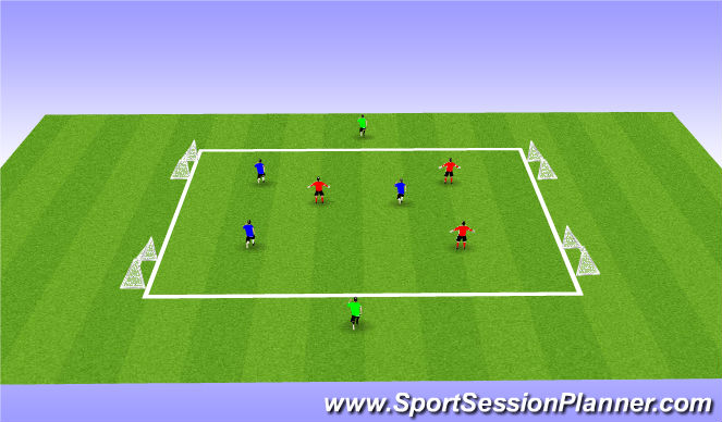Football/Soccer Session Plan Drill (Colour): Playing to width to come inside