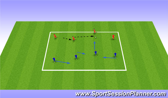 Football/Soccer Session Plan Drill (Colour): 4v4 Passive