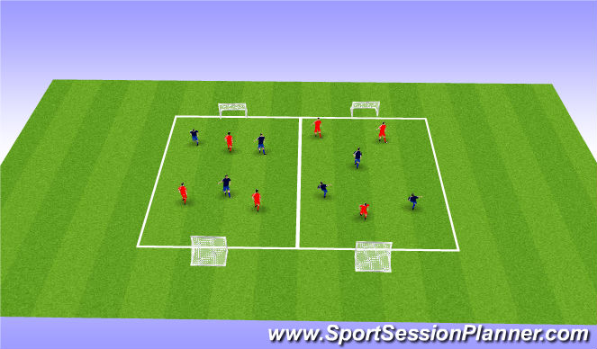 Football/Soccer Session Plan Drill (Colour): SSG  3 V 3