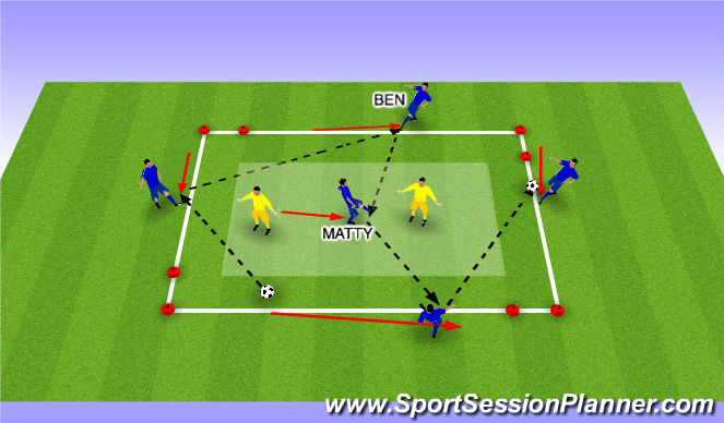 Football/Soccer Session Plan Drill (Colour): Short Passes - Move to Receive