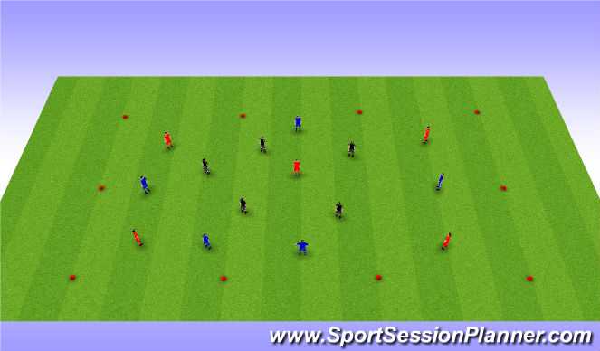 Football/Soccer Session Plan Drill (Colour): possession (3 colour team)