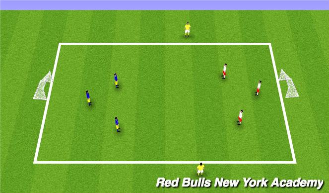 Football/Soccer Session Plan Drill (Colour): Main 3v3 +2