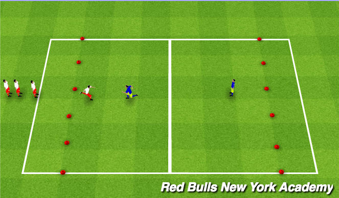 Football/Soccer Session Plan Drill (Colour): Gauntlet w/o Ball