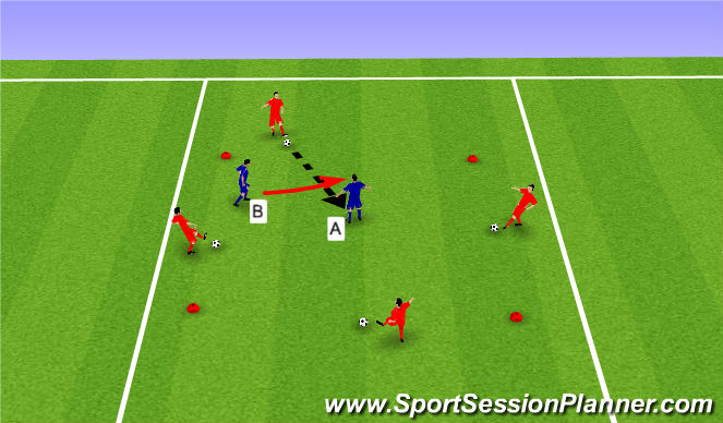 Football/Soccer Session Plan Drill (Colour): Warm up: Part 1