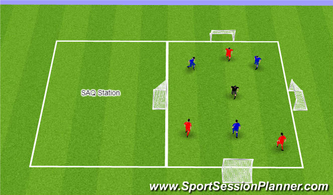 Football/Soccer Session Plan Drill (Colour): 2 Stations