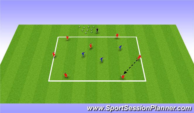 Football/Soccer Session Plan Drill (Colour): 7v3 possession