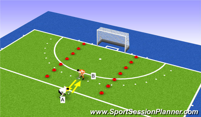 Hockey Session Plan Drill (Colour): 1-1