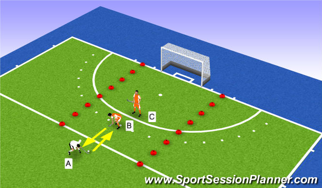Hockey Session Plan Drill (Colour): 1-2