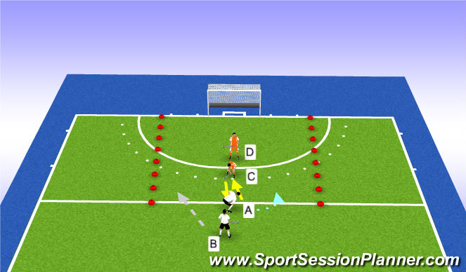 Hockey Session Plan Drill (Colour): 2-2