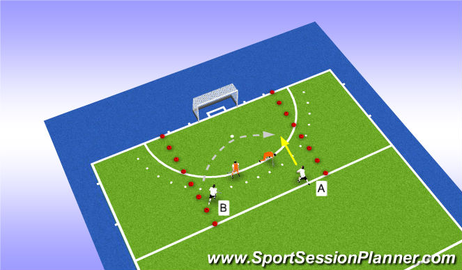 Hockey Session Plan Drill (Colour): Uitleg situatie 2-2
