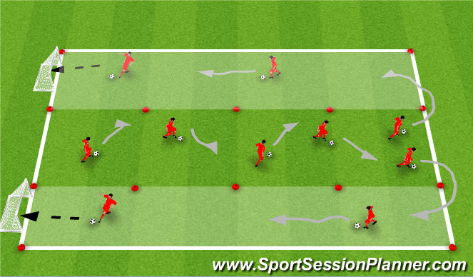 Football/Soccer Session Plan Drill (Colour): Skills Corridor
