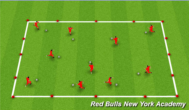 Football/Soccer Session Plan Drill (Colour): Techincal Warm Up