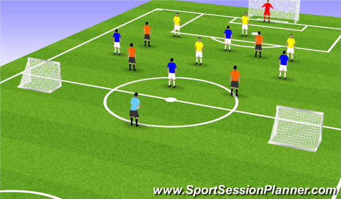 Football/Soccer Session Plan Drill (Colour): SSG - 4v4v4