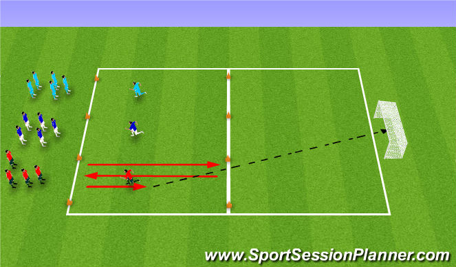 Football/Soccer Session Plan Drill (Colour): Changes of Direction - 3 team game