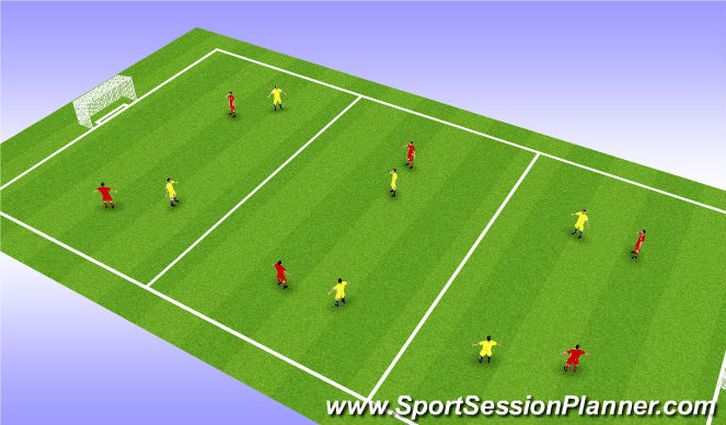 Football/Soccer Session Plan Drill (Colour): Support Passing and Setting Through the Thirds - Skill Training