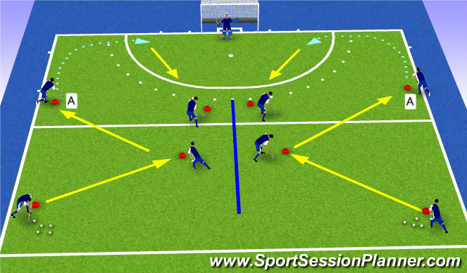 Hockey Session Plan Drill (Colour): Ghost Attack