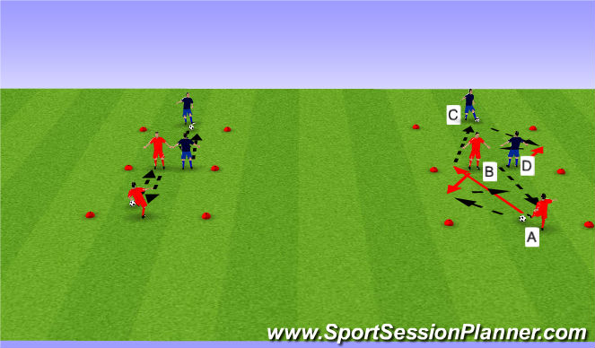 Football/Soccer Session Plan Drill (Colour): BU 11 pass & receive combos