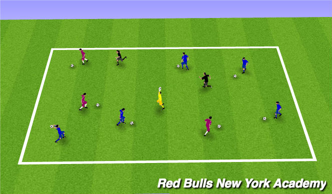 Football/Soccer Session Plan Drill (Colour): Warm-Up - Freeze Tag