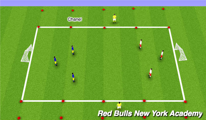Football/Soccer Session Plan Drill (Colour): Main 3v3 +2