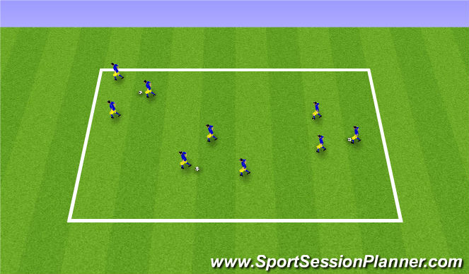 Football/Soccer Session Plan Drill (Colour): Zonal defending warm up