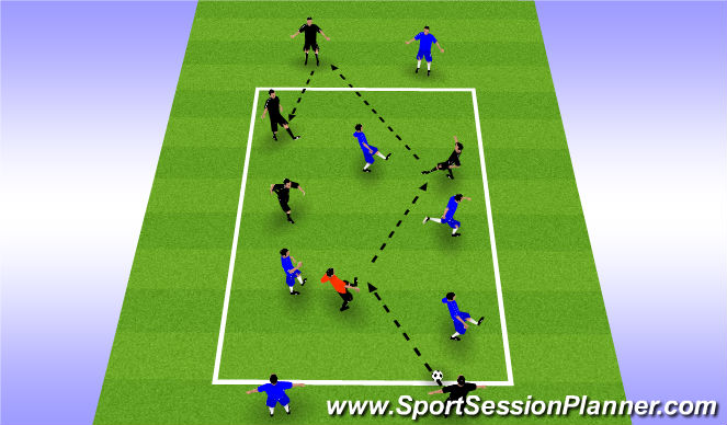 Football/Soccer Session Plan Drill (Colour): Skill Training Whole Team - Part 2