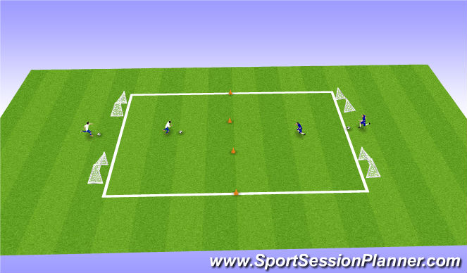 Football/Soccer Session Plan Drill (Colour): 1v1 transition 2 goals