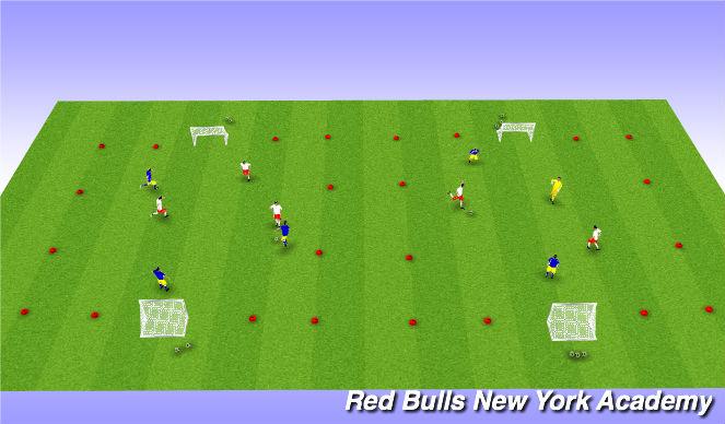 Football/Soccer Session Plan Drill (Colour): Tournament 3v3 or 2v2+1