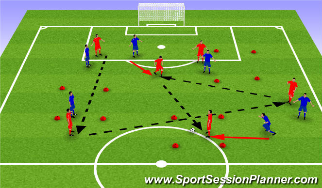 Football/Soccer Session Plan Drill (Colour): Pass and Move Game
