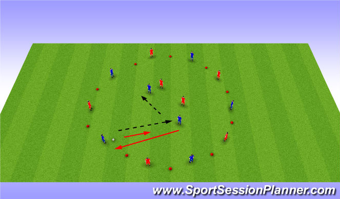 Football/Soccer Session Plan Drill (Colour): 2v2 rotation