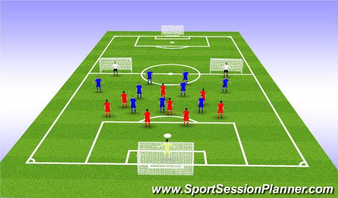 Football/Soccer Session Plan Drill (Colour): 9v8+Gks