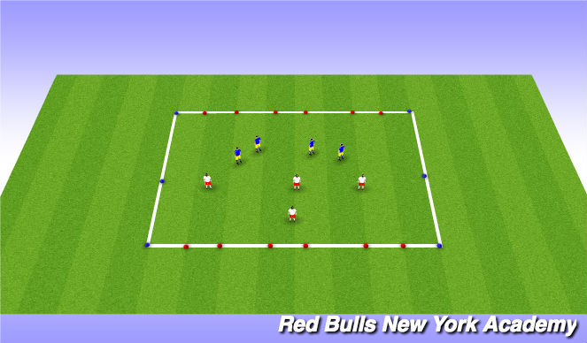 Football/Soccer Session Plan Drill (Colour): 4v4 at 3 goals