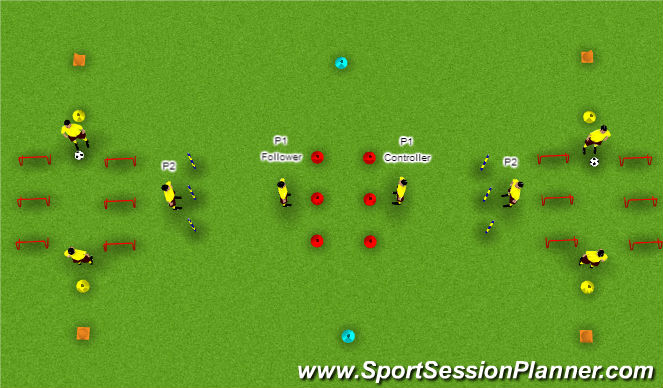 Football/Soccer Session Plan Drill (Colour): Warm Up Variation 13