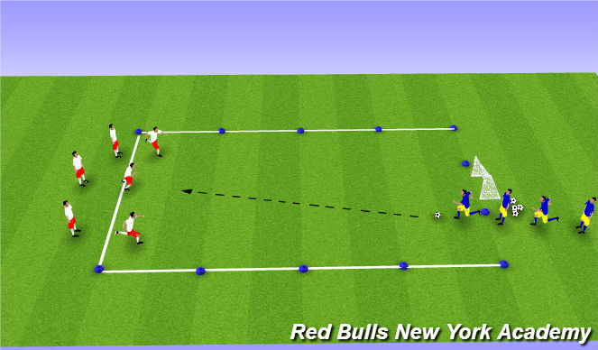 Football/Soccer Session Plan Drill (Colour): 3v1 Counter Attack