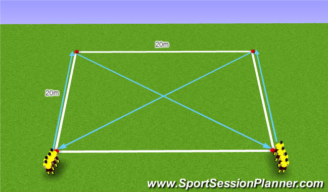 Football/Soccer Session Plan Drill (Colour): Warm Up Variation 14