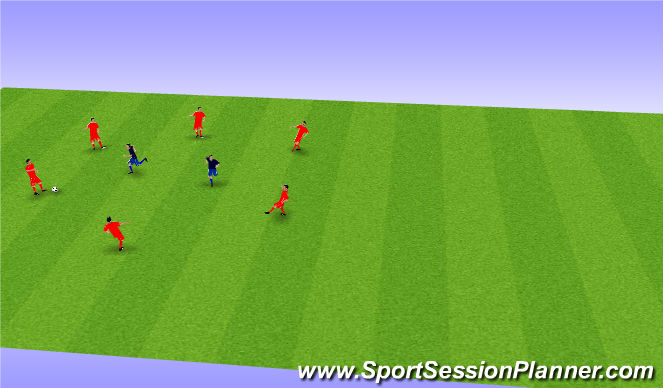 Football/Soccer Session Plan Drill (Colour): BU 11 men in middle